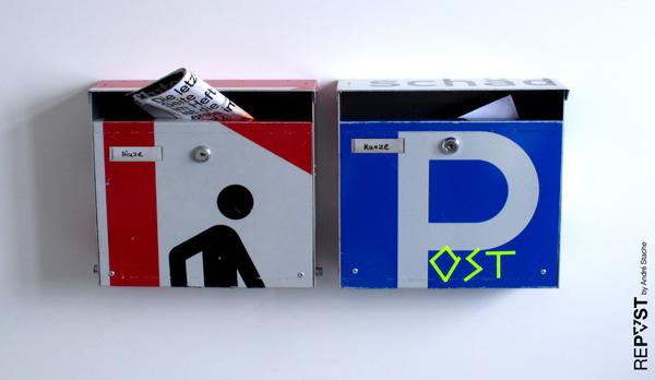 briefkasten,postbox,verkehrsschilder,verkehrszeichen,alt,gebraucht,used,old,street sign,repost,reuse,upcycling,andre stache,berlin