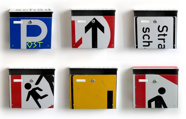 briefkasten,postbox,verkehrsschilder,verkehrszeichen,used,old,street sign,repost,reuse,upcycling,andre stache,berlin