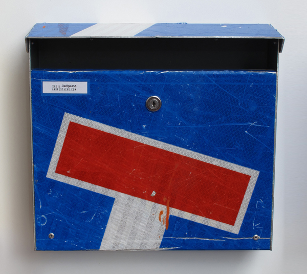 repost,sackgasse,re post,briefkasten,upcycling,reuse,street sign,straßenschild,post box,andre stache,foto vesko goesel